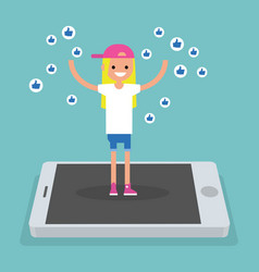 Young successful girl standing on mobile screen vector