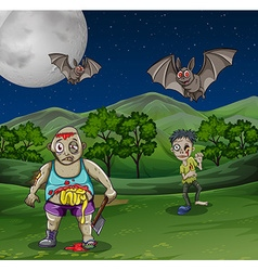 Zombies walking in the field at night vector image