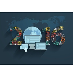 application icons with new year 2016 vector image vector image