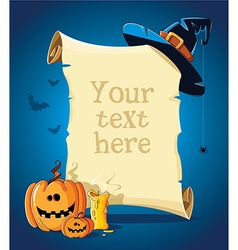 Halloween blue banner with empty paper scroll vector