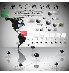Map of South and North America infographic vector image