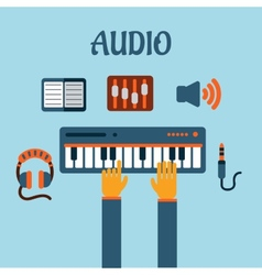 Sound recording flat concept vector image vector image