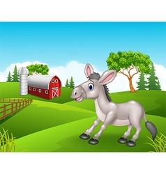 Cartoon funny donkey in the farm vector image