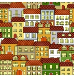 Cityscape seamless pattern with colorful houses vector image vector image