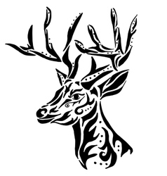 deer for coloring or tattoo isolated on white vector image vector image