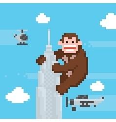 Gorilla on a top of skyscraper old school pixel vector image vector image