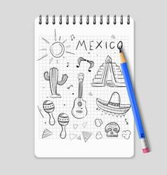 sketch mexican symbols set vector image