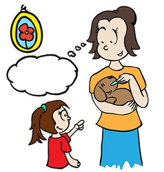 mom with thought bubble feeding a dog vector image vector image