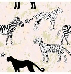 Seamless pattern with savanna animals vector image vector image