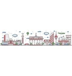 Travel in berlin city line flat design banner vector