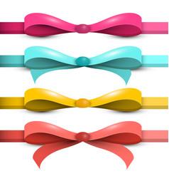 bow - ribbon set colorful bows - ribbons isolated vector image vector image