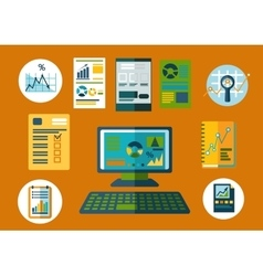 Business and financial planning flat icons vector image