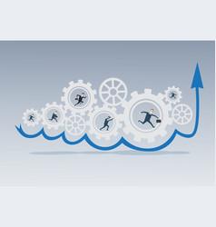 business people group running in cog wheel work vector image vector image