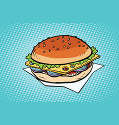 cheeseburger with onions and cheese vector image vector image