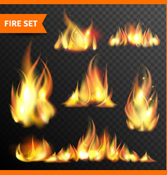 Fire glowing flames icons set vector