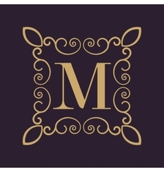 Monogram letter M Calligraphic ornament Gold vector image