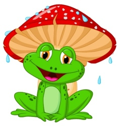 Mushroom with a toad cartoon vector image