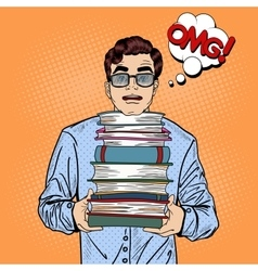 Pop Art Man Student Holding Stack of Books vector image