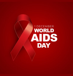 1 december world aids day concept with red ribbon vector