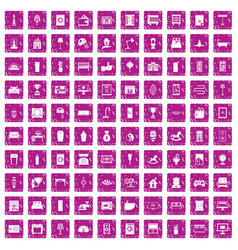 100 interior icons set grunge pink vector image vector image
