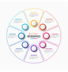 8 parts infographic design circle chart vector image