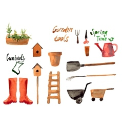 A set watercolor of gardening tool vector