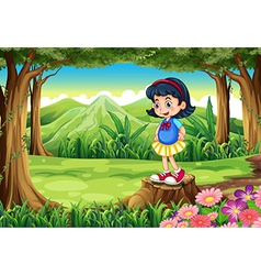 A young girl standing above the stump vector