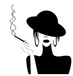 Abstract portrait of a sexy woman smoking vector