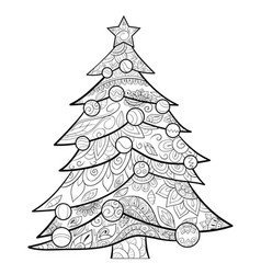 Adult coloring bookpage a cute christmas fir tree vector