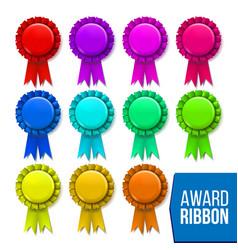 award ribbon set winner badge ceremony vector image