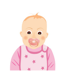 Baby girl with pacifier vector