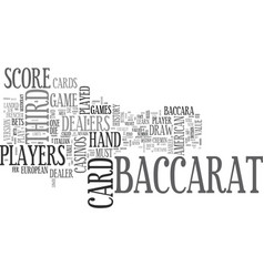 Baccarat history and american baccarat rules text vector