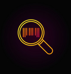 Barcode in magnifying glass colorful icon in thin vector