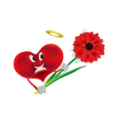 beautiful smiling heart with flower on white vector image