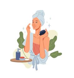 Beauty girl take care skin applying cosmetics vector
