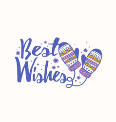Best wishes holiday lettering handwritten with vector