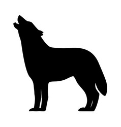 black silhouette of a howling wolf vector image