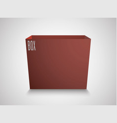 blank red cube on white background 3d box vector image