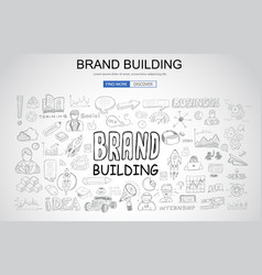 Brand building concept with business doodle vector