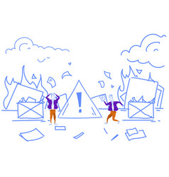 Businessmen extinguishing fire workplace office vector