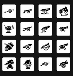 Cannon retro icons set simple style vector