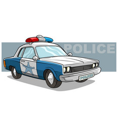 cartoon blue police car with golden badge vector image