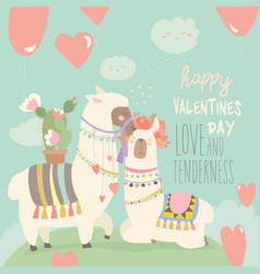 cartoon mexican white alpaca llamas couple with vector image