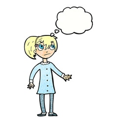 Cartoon worried girl with thought bubble vector