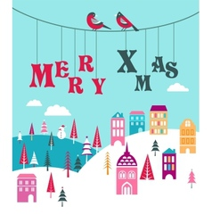 Christmas background with homes vector image