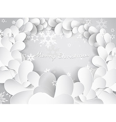 Christmas background with snow flakes leafs and vector