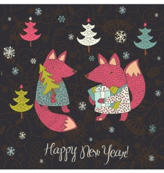 Christmas card with fox vector