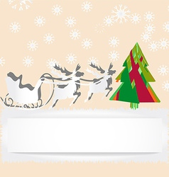 Christmas card with reindeer and tree vector image