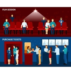 Cinema movie 2 flat banners set vector