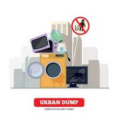 city dump appliance garbage from broken kitchen vector image
